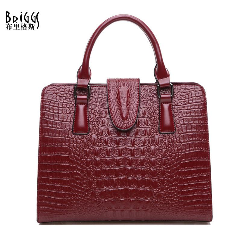 BRIGGS Crocodile Patterned Satchel Bag - BagPrime - Look Your Best with Amazing Bags
