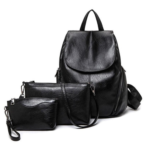 Classic Leather Backpack Set - BagPrime - Look Your Best with Amazing Bags