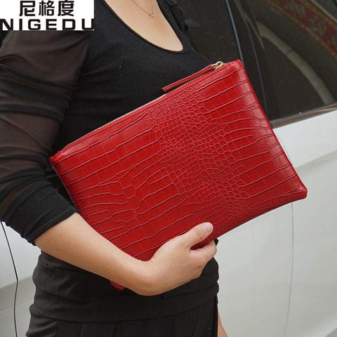 Crocodile Patterned Envelope Clutch - BagPrime - Look Your Best with Amazing Bags