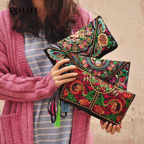 Ethnic-Inspired Embroidered Clutch - BagPrime - Look Your Best with Amazing Bags