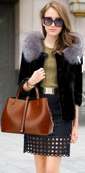 Casual Stylish Light Brown MODERN CLASSIC BAG - Front View