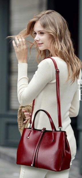 Casual Stylish Woman With Burgundy MODERN CLASSIC BAG - Side View