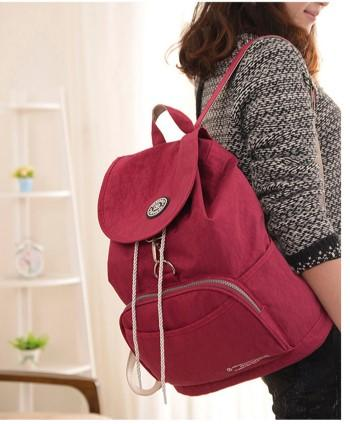 Casual Stylish Woman With Purple Red Preppy Cool Backpack- Side View