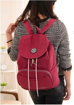 Casual Stylish Woman With Purple Red Preppy Cool Backpack- Front View
