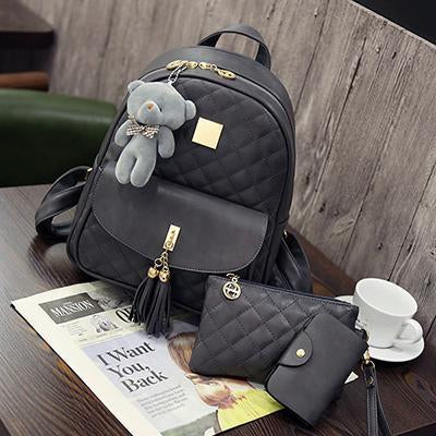 HANEROU Quilted Backpack with Tassel - BagPrime - Look Your Best with Amazing Bags