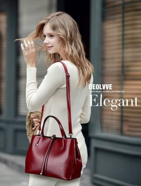 Casual Stylish Woman With Burgundy VINTAGE SATCHEL BAG - Side View