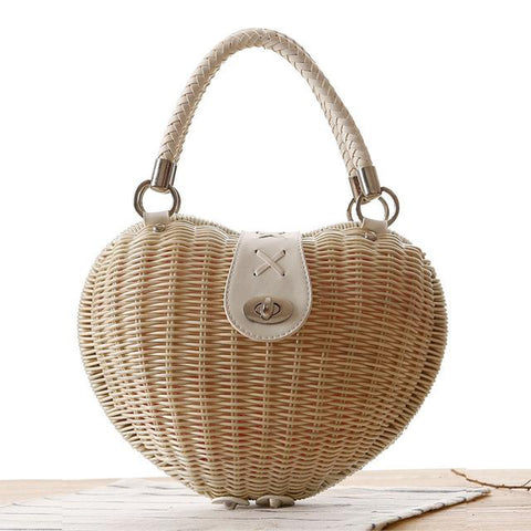 Heart Shaped Woven Basket Bag - BagPrime - Look Your Best with Amazing Bags