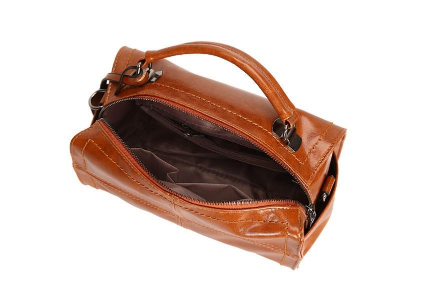 HERALD FASHION CHECKERED BOWLING BAG - Brown Internal View
