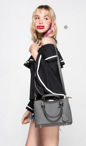 Casual Stylish Woman With Classic Satchel Dark Grey Bag-Side view