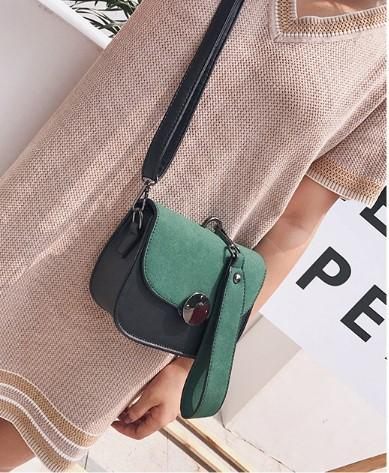 Casual Stylish Woman With Green Color Blocked Messenger Bag- Side View
