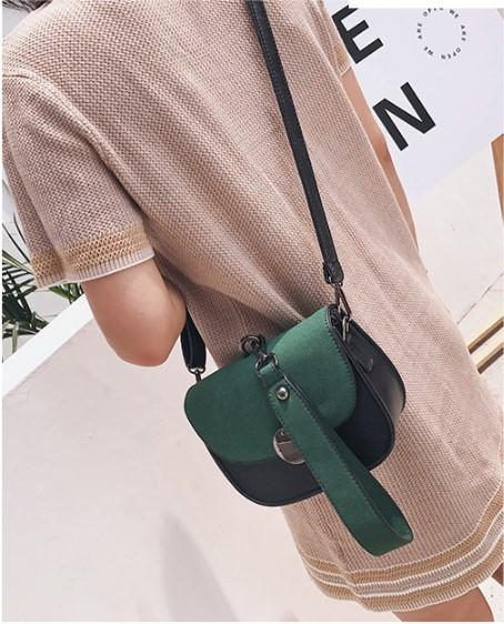 Casual Stylish Woman With Green Color Blocked Messenger Bag- Front View