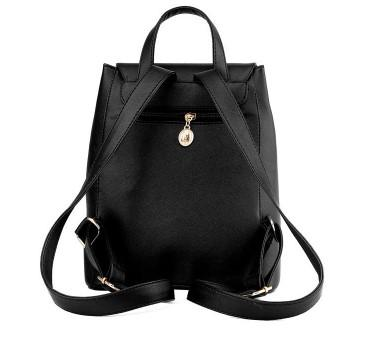 Casual Stylish Black Drawstring Backpack- Back View
