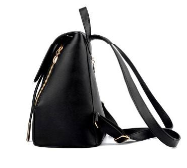 Casual Stylish Black Drawstring Backpack- Side View