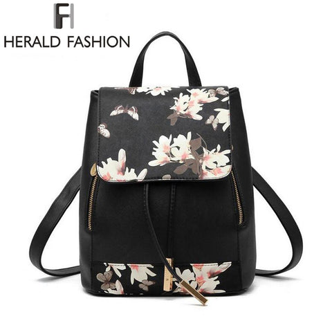 HERALD FASHION Floral Print Backpack - BagPrime - Look Your Best with Amazing Bags