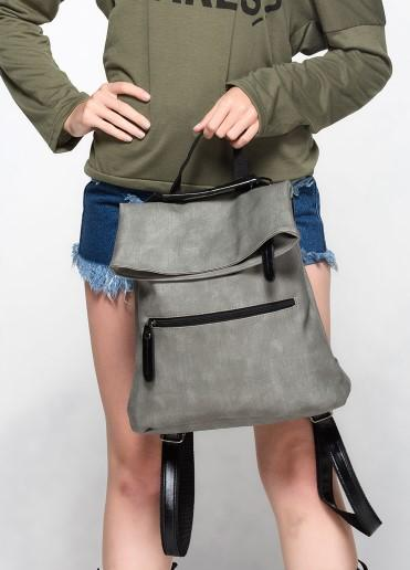 Casual Stylish Woman With Gray Modern Edgy Backpack- Front View
