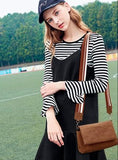 Casual Stylish Woman With Brown Suede Messenger Bag with Striped Strap- Side View