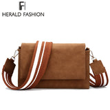 HERALD FASHION Suede Messenger Bag with Striped Strap - BagPrime - Look Your Best with Amazing Bags