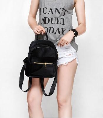Casual Stylish Woman With Black VELVET BACKPACK- Front View