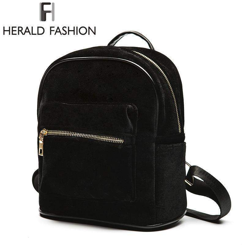 HERALD FASHION Velvet Backpack - BagPrime - Look Your Best with Amazing Bags