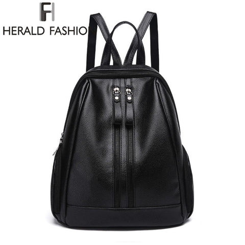 HERALD FASHION Zipped Leather Backpack
