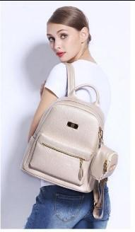 Casual Stylish Woman With Beige Luxe Backpack- Side View
