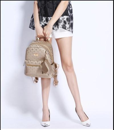 Casual Stylish Woman With Gold Luxe Backpack- Front View