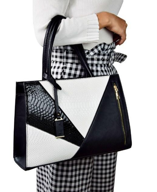 Casual Stylish Woman With White MODERN COLORBLOCKED SHOULDER BAG - Side View