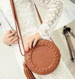 Casual Stylish Woman With Brown Summer Bag with Tassel - Front View