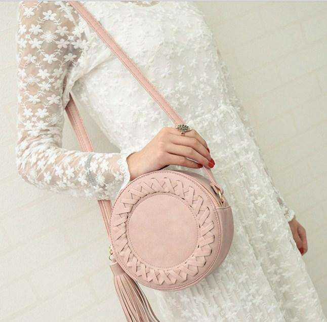 Casual Stylish Woman With Pink Summer Bag with Tassel - Front View