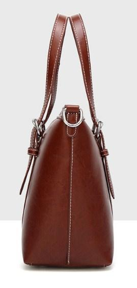 Casual Stylish Brown Vintage Satchel Bag - Side View