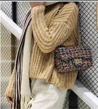 Casual Stylish Woman With Gold Wool Messenger Bag- Side View