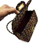 Casual Stylish Gold Wool Messenger Bag- Open View