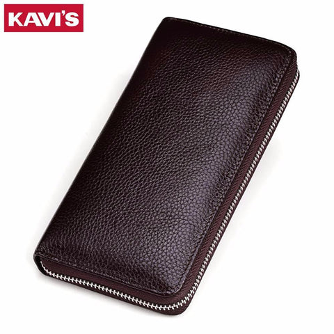 KAVIS Genuine Leather Long Wallet - BagPrime - Look Your Best with Amazing Bags