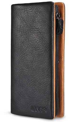 Casual Stylish Black Genuine Leather Wallet - Front View
