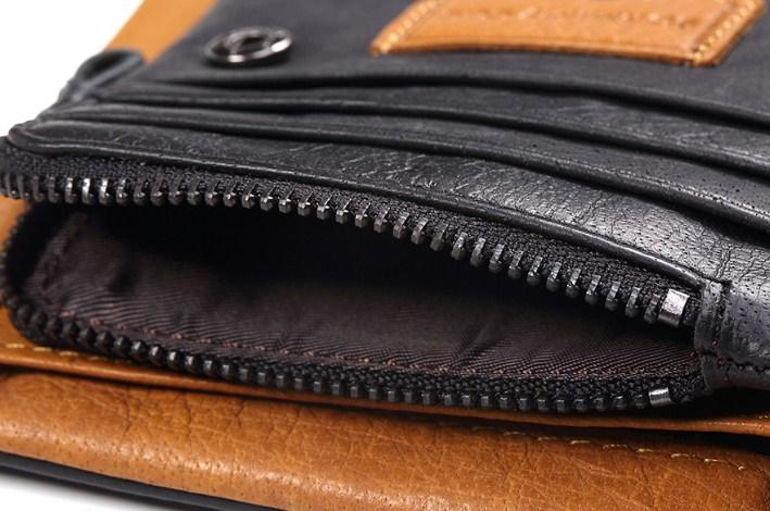Casual Stylish Black Genuine Leather Wallet - Close Open View