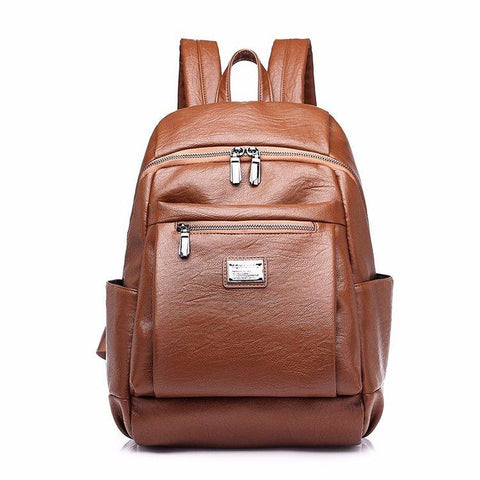 KQBV Preppy Leather Backpack
