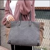 Casual Stylish Woman With Grey Structured Shoulder Bag-Front View