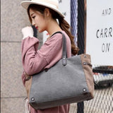 Casual Stylish Woman With Grey Structured Shoulder Bag-Side View