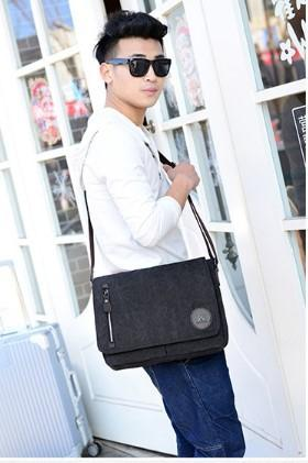 Casual Stylish Man With Black Canvas Messenger Bag- Front View