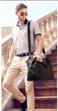 Casual Stylish Man With Black Leather Duffel Bag- Side View
