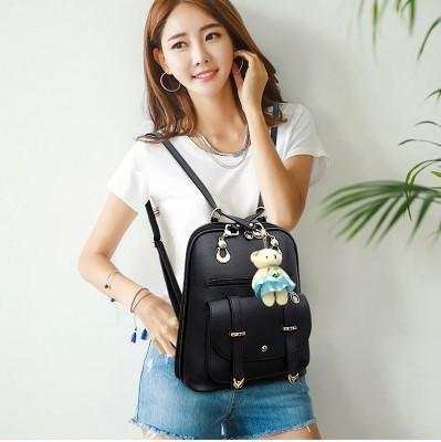 Casual Stylish Woman With Black Trendy Backpack- Front View