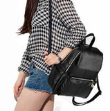 Casual Stylish Woman With Black Trendy Backpack- Side Top View