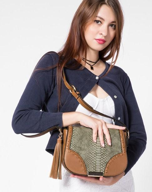 Casual Stylish Woman With Brown Bohemian Crossbody Bag - Front View