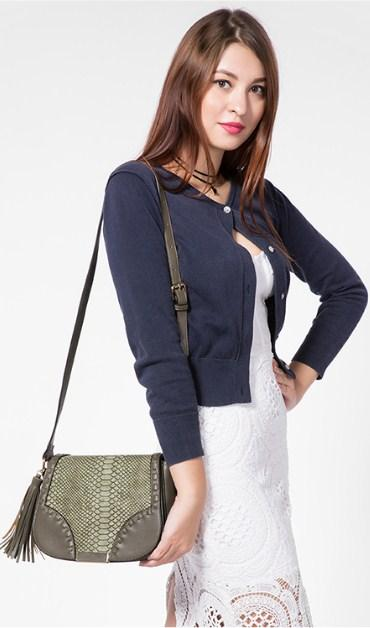 Casual Stylish Woman With Grye Bohemian Crossbody Bag - Side View