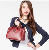 Casual Stylish Woman With Red Chic Satchel Bag-Front View