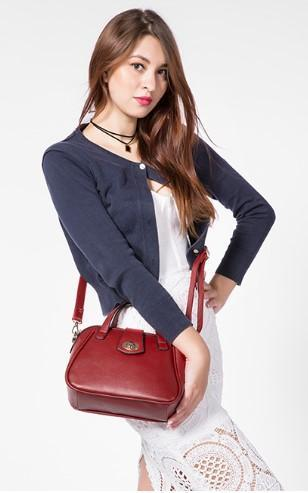 Casual Stylish Woman With Red Chic Satchel Bag-Side View