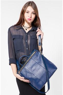 Casual Stylish Woman With Blue Cool Backpack Sling Bag- Front View