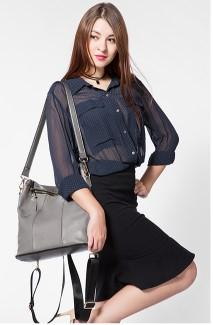 Casual Stylish Woman With Gray Cool Backpack Sling Bag- Side View