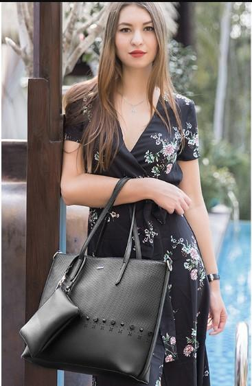 Casual Stylish Woman With Black Cut Out Design Shoulder Bag-Side View