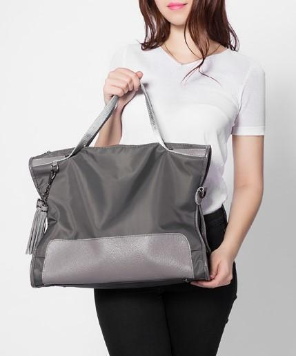 Professional Stylish Woman With Grey Satchel Bag-Front View